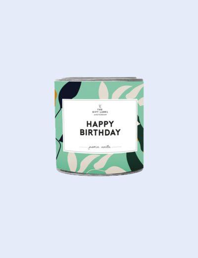 GiftLabel geurkaars in blik happy birthday - Stylin cadeau artikelen Rijnsburg