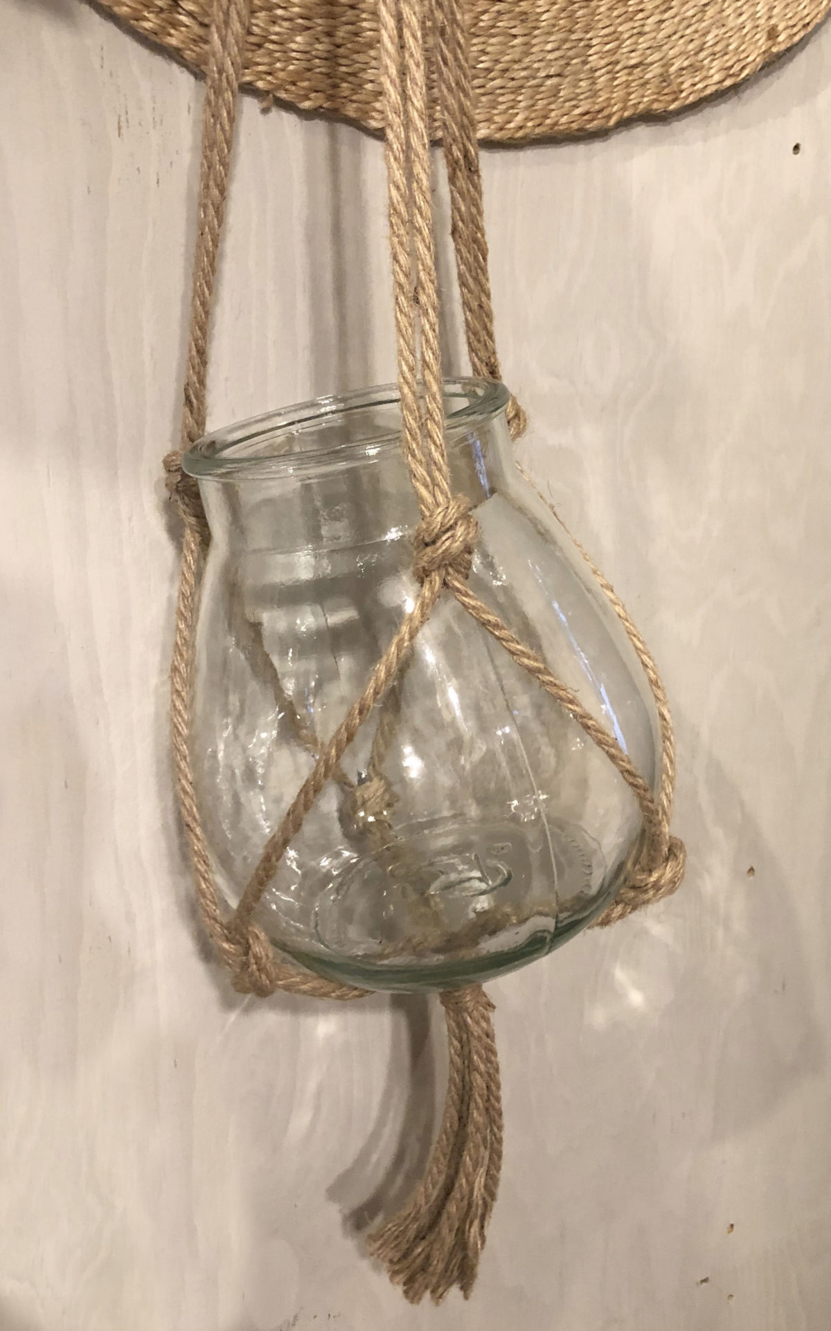Stylin plantenhanger touw met glazen pot